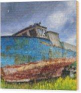 Old Fishing Boat Wood Print