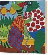 Old Folks Dancing Wood Print by Rojax Art
