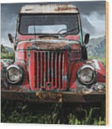 Old Forgotten Red Car Wood Print