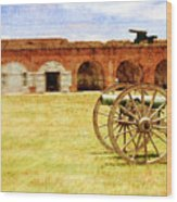 Old Fort And Cannon Still Liife Wood Print