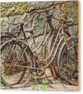 Old French Bicycles Wood Print by Debra and Dave Vanderlaan
