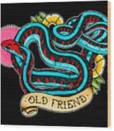 Old Friend Red-sided Gartersnake Wood Print