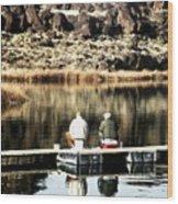 Old Friends Fishing Wood Print