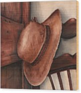 Old Garden Hat Wood Print by Angela Armano