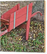 Old Garden Wheel Barrow Wood Print