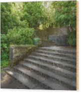 Old Garden With Stone Walls And Stair Steps Wood Print