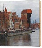 Old Gdansk Port Poland Wood Print by Sophie Vigneault