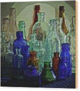 Old Glass Bottles Wood Print