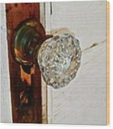 Old Glass Doorknob Wood Print