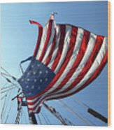 Old Glory Blowing In The Breeze Wood Print
