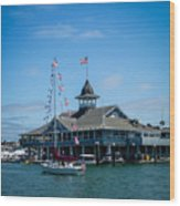 Old Glory Boat Parade Wood Print