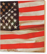 Old Glory Flag In Breeze Wood Print