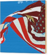 Old Glory Flying Wood Print