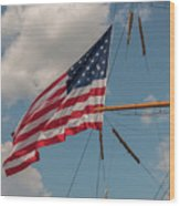 Old Glory Flying Over Eagle Wood Print
