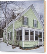 Old Green And White New Englander Home Wood Print