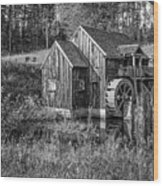 Old Grist Mill In Vermont Black And White Wood Print