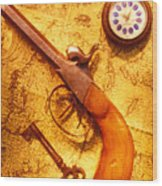 Old Gun On Old Map Wood Print by Garry Gay