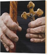 Old Hands And Crucifix  Wood Print