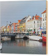 Old Harbour Of Nyhavn  Wood Print