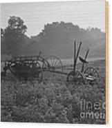 Old Hay Baler In Misty Field Wood Print