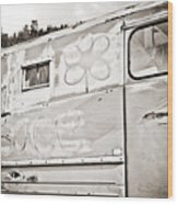 Old Hippie Peace Van Wood Print