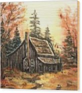 Old House And Pump Wood Print