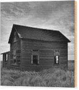 Old House In A Barren Field Wood Print