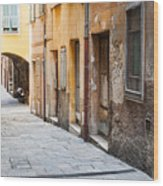 Old Houses On Narrow Street In Villefranche-sur-mer Wood Print