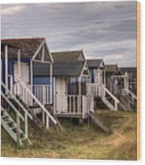 Beach Huts At Old Hunstanton Wood Print