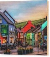 Old Irish Town The Dingle Peninsula At Sunset Wood Print