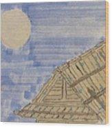 Old Japan At Nightfall Wood Print