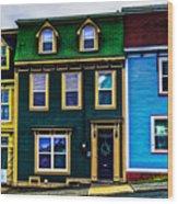 Old Jellybean Row Houses Wood Print