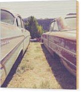 Old Junkyard Cars Chevy And Ford Utah Wood Print
