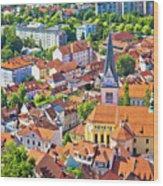 Old Ljubljana Cityscape Aerial View Wood Print