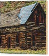 Old Log Cabin-barn Wood Print