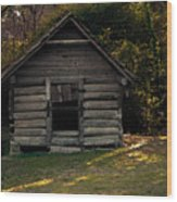 Old Log Cabin Wood Print
