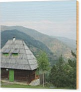 Old Log Cabin On Mountain Landscape Wood Print