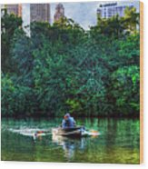 Old Love And Central Park Lake Wood Print