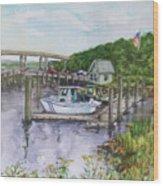 Old Lyme Boat Yard At The Dep Wood Print