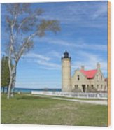 Old Mackinaw Point Light Wood Print