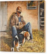 Old Man And The Beagle Pups Wood Print