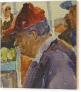 Old Man At The Market Wood Print