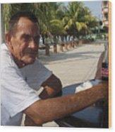 Old Man Drinking Coca Cola Wood Print