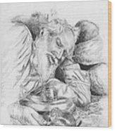 Old Man Feeding Chipmunk Wood Print
