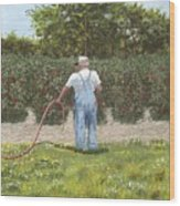 Old Man In Garden Wood Print
