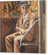Old Man In Subway Wood Print