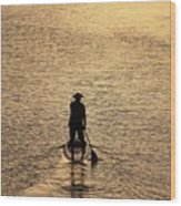 Old Man Paddling Into The Sunset Wood Print
