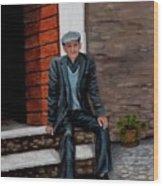 Old Man Waiting Wood Print