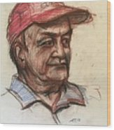 Old Man With Cap Wood Print