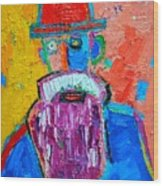 Old Man With Red Bowler Hat Wood Print